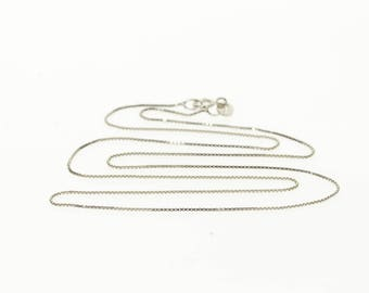 14k 0.6mm Box Link Fancy Chain Necklace Gold 16""