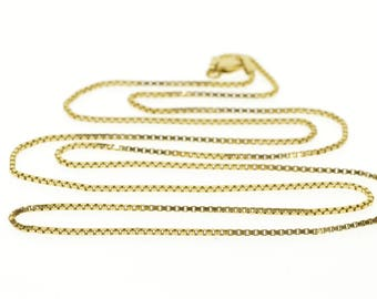 14k 1.2mm Box Link Chain Necklace Gold 25""