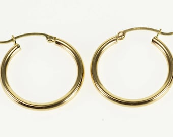 10k Rounded Simple Tube Hoop Earrings Gold
