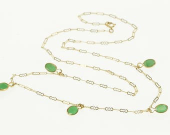 """14k Emerald Inset Wavy Link Chain Necklace Gold 18"""""""