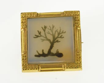 k Cloudy Painted Tree Design Square Pin/Brooch Gold Filled