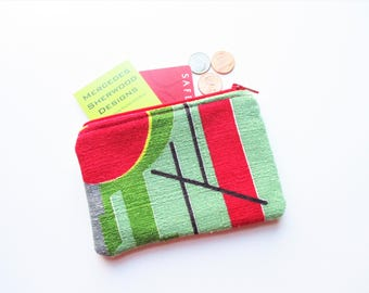 Red Green Black Abstract Geometric Vintage Barkcloth Fabric Coin Purse Business Loyalty Card Holder Zipper Bag Pouch Gift