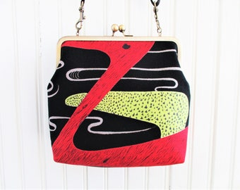"Red Orange Chartreuse & Gray on Black Ground Abstract Duck Vintage Barkcloth Fabric 8"" Antique Brass Kisslock Frame Crossbody Shoulder Bag"