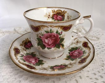 Elizabethan Fine Bone China Tea Cup and Saucer, Buckingham, Pink Roses with Gold Trim