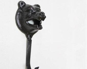 Big Bear Wall Hook Metal Vintage Look Wall Hooks Decorative Hooks / Black  Antique Silver Bronze