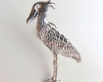 Shoebill pin, Bird pin, silver Pin,