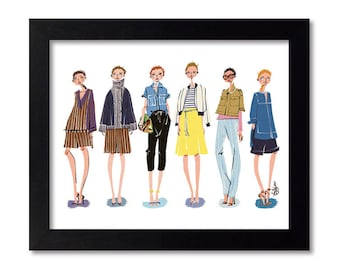 J.CREW - Fashion Illustration Print Fashion Print Fashion Art Fashion Wall Art Fashion Poster Fashion Sketch Illustration Art Print