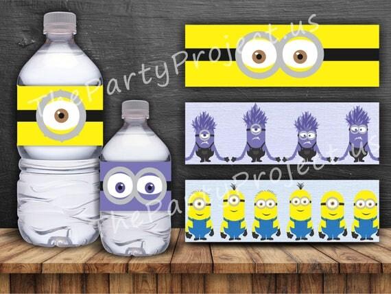Baby Shower Decor Printables ~ Diy printable minions bottle labels despicable me party printables