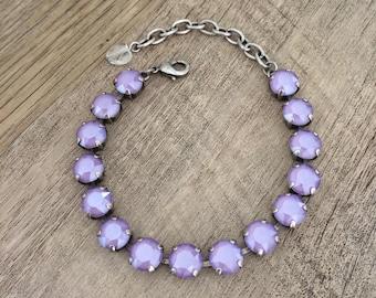 Swarovski Crystal New Spring/Summer 2019 Lilac 8mm Bracelet // Antique Silver Finish // Purple Bridesmaids Gifts
