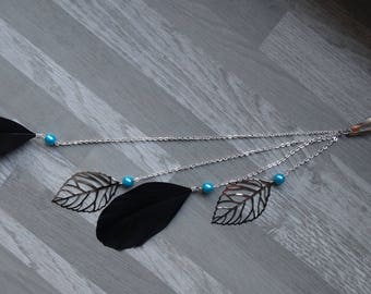 Jewelry for hair, black, blue turquoise and silver