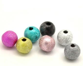 set of 100 round beads multicolor grainy effect metallic