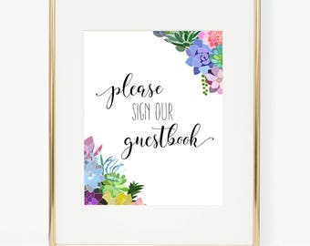 Printable Succulent Wedding Guestbook Poster
