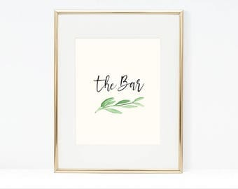 Printable Greenery The Bar Poster (3 versions)