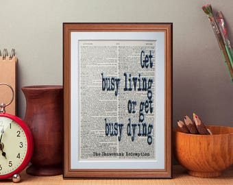 Shawshank Redemption Quote dictionary page literary art print home decor present gift books