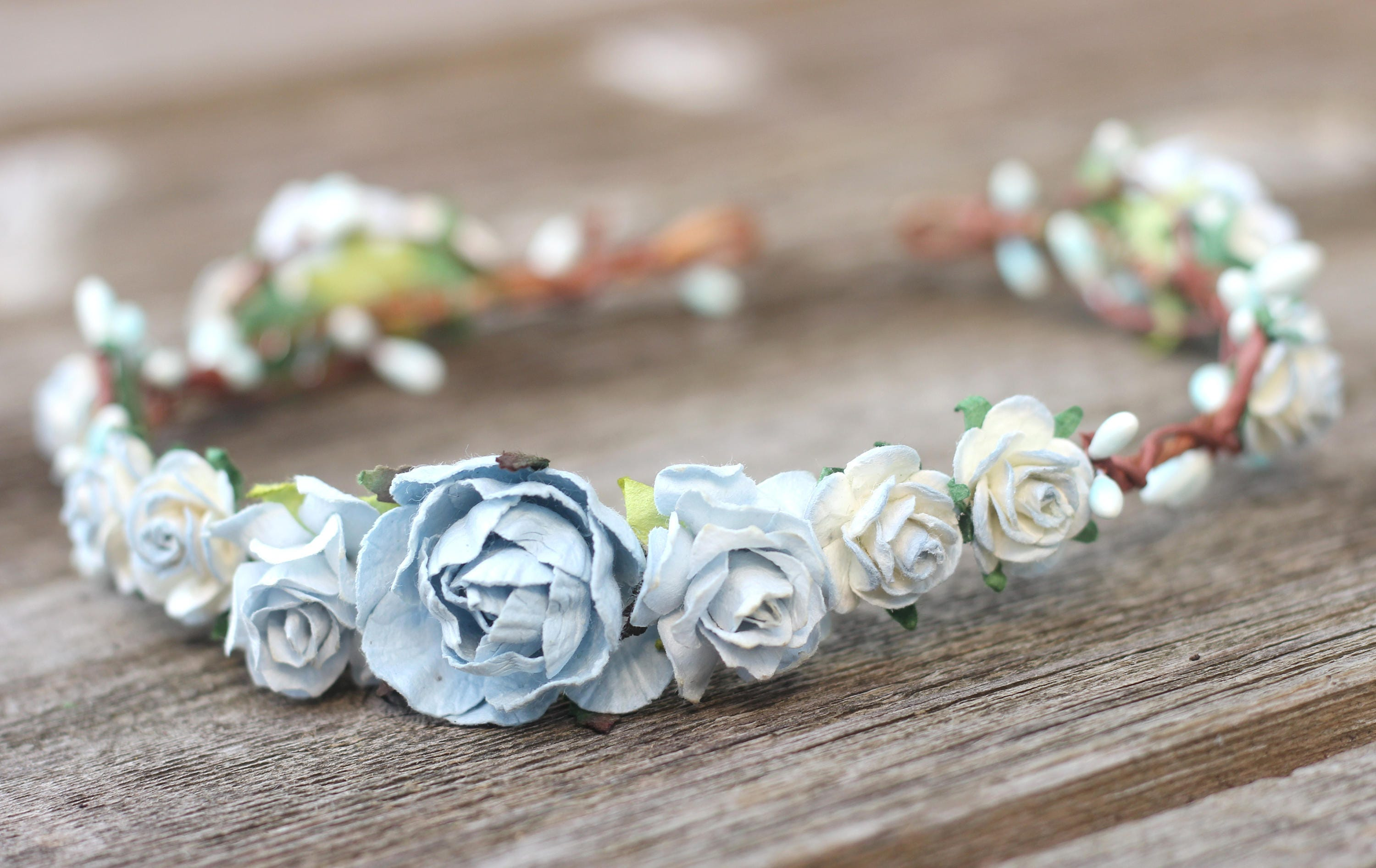 Dusty blue rose wedding flower crown floral crown wedding hair dusty blue rose wedding flower crown floral crown wedding hair crown head wreath izmirmasajfo