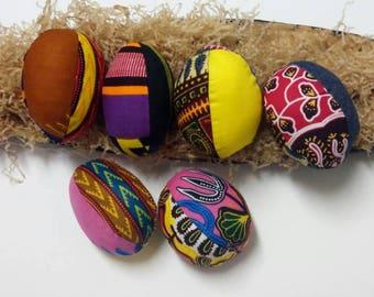 Kente African Print  Easter Eggs, Set of 6 Dashiki Children's Easter Hunt Eggs
