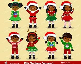 Christmas Kids African American / Children - Digital Clipart, Christmas clipart