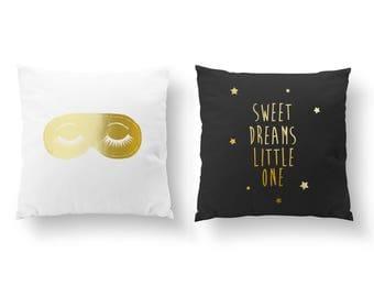 SET of 2 Pillows, Sweet Dreams Little One, Sleep Pillow, Nursery Decor, Throw Pillow, Kids Pillow, Cushion Cover, Gold Decorative Pillow