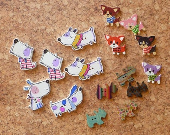 Wooden Dog Button Assortment