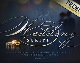 Ornamental Penmanship font - The Wedding Script