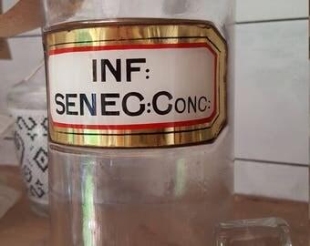 Vintage Glass Chemist Bottle / Apothecary Bottle / Pulv Acid Citra Bottle / Antique Chemist Bottle with original label / Glass Bottle