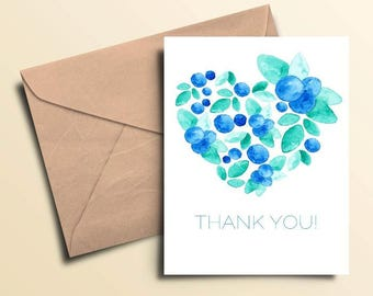 Box of 10 - Blueberry Thank You Note Cards