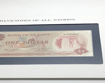 Banknotes Of All Nations Guyana 1983 1 Dollar GEM UNC  Waterfall Franklin Mint Paper Money Souvenir Scrapbook Scrapbooking