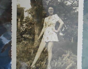 Vtg Vernacular Found Photo Pretty Woman Fashion Long Legs