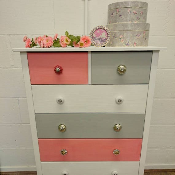 Coral White And Grey Painted Chest Of Drawers Upcycled