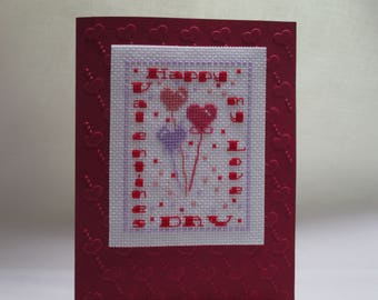 Valentine's Day Cross Stitched Card