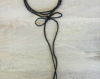 "Crochet Black Beaded Bow Choker, ""Beauty"""