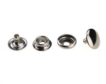 12mm 4-Part Silver Black Press Studs Prongs Snap Fasteners -Heavy Duty Craft