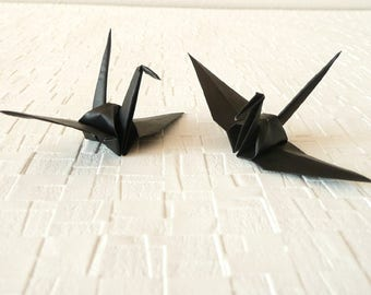 "50 Small Origami Cranes, Solid Black Origami Paper Cranes, 3"" Japanese Origami Paper,decoration ideas,party decoration"