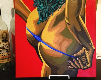 """Jacqueline"" Erotic Pop Art Painting [acrylic on canvas, 12x12""]"
