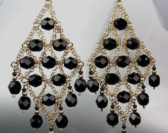 GORGEOUS Black Onyx Gold Chandelier Dangle Earrings, Bohemian Earrings, Cascading Dangle Earrings, FREE SHIPPING!