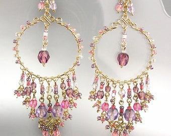 GORGEOUS Pink Purple Crystal Beads Chandelier Dangle Earrings, Bohemian Earrings, Cascading Dangle Earrings, FREE SHIPPING!