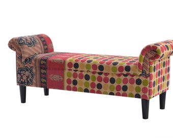 One of A Kind Vintage Inspired Kantha Patchy Roll Arm Bench