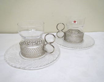Iittala Finland, Tsaikka -Glass with Saucers, designed  by Timo Sarpaneva