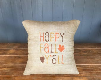 Happy Fall Yall, Bow Pillow, Fall Pillow, Autumn Pillow, Thanksgiving Pillow, Happy Fall Pillow, Harvest Pillow, Fall Bow Pillow