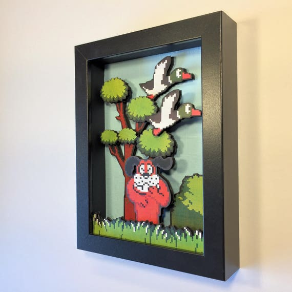 Duck Hunt 3D Shadow Box 5x7 Nintendo NES