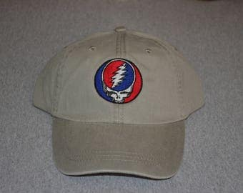 Grateful Dead Steal Your Face Center On a Stone Color Adams Brand Twill Unstructured Baseball hat --- FREE Shipping ---