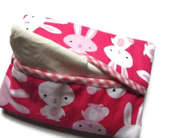 Pouch, case, cover fleece for tissue paper, pink and White rabbits