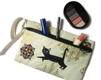 pouch bag, makeup pouch, cat print, gold white black