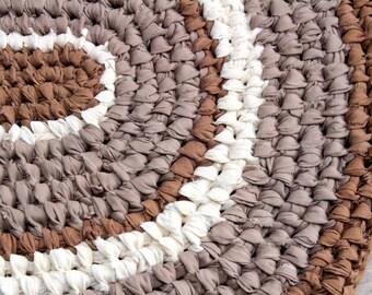 Primitive Style Oval Rag Rug, Toothbrush/Amish Knot Rag Rug, Brown Kitchen Rug, Farmhouse Primitive Cotton Rag Rug, Brown and Tan Oval Rug
