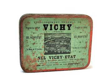 Metallic box of Salt vintage Vichy Etat 30 '