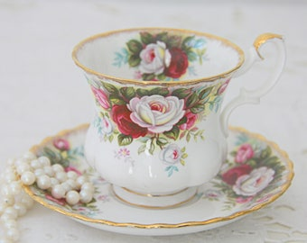 Vintage Royal Albert Bone China 'Celebration' Lady Size Cup And Saucer, England