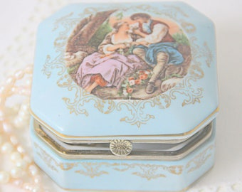Vintage Light Blue Porcelain Trinket Box, Fragonard Decor