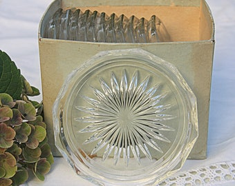 Set of Twelve Vintage Edged Glass Coasters, Starburst Bottom