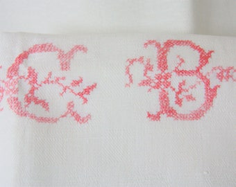 Set of Two Large Antique French Kitchen Towels with  Hand Embroidered Monogram