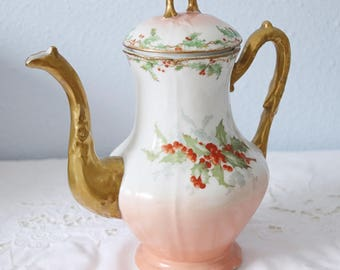 Beautiful Antique Limoges Porcelain Coffeepot, Gilded Ornate Handle and Sprout, Holly Decor, France